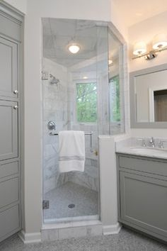 Choosing Bathroom Wall and Cabinet Colors {Paint It Monday}-- cabinets Fieldstone Gray Benjamin Moore