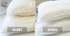 Avec le temps et la transpiration, nos oreillers deviennent jaunâtres