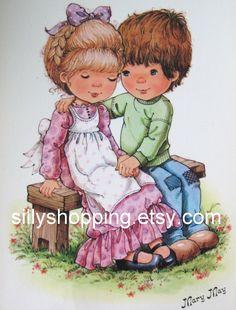 Vintage 70s Big Eyed Girl and Boy Mary May Postcard. $5.00, via Etsy.