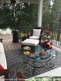 Deck Makeover and Covered Porch for Dining and Entertaining featured on Between Naps on the Porch.