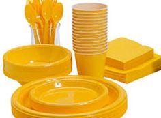 Stort udvalg af flot gult engangsservice, engangsbestik og pynt til din fest.