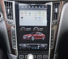Tesla-style Android Navigation Radio for Infiniti Infiniti Q50 Red Sport, 2016 Infiniti Q50, Infiniti Usa, Infiniti Q50 Interior, Android Navigation, G37 Sedan, Android Radio, Interior Accessories, Interior Lighting