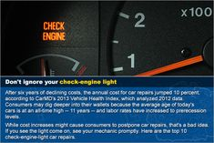 Here are the top 10 check-engine-light car repairs.