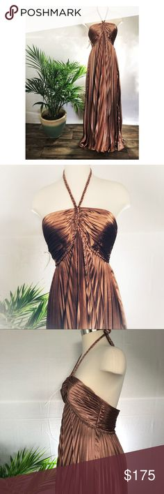 """NWT Liz Fields Maxi Gown Sample dress from a bridal boutique. Never worn, only tried on Grecian goddess Halter neck Floor length, slightly longer in back Copper color  Bust: 36"""" Underbust: 30"""" Length hem to hem: 56.5"""" Questions and offers welcome! Liz Fields Dresses Maxi"""
