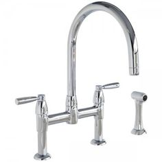 Perrin & Rowe Contemporary Io kitchen tap with round spout, levers and spray rinse Kitchen Shop, Kitchen Mixer, Kitchen Taps, Bathroom Windows, Bathroom Wall Decor, Bathroom Ideas, Steam Showers Bathroom, Bathrooms, Beige Bathroom