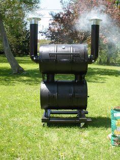 my double barrel smoker Diy Smoker, Barbecue Smoker, Homemade Smoker, Bbq Grill, Grilling, Custom Smokers, Smoker Designs, Barrel Smoker, Bar B Que Pits