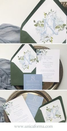 This dusty blue wedding invitation suite includes a floral and monogramed envelope liner that I adore. The liner ties in elements from both cards and Elegant Wedding Invitations, Wedding Invitation Etiquette, Monogram Wedding Invitations, Wedding Envelopes, Wedding Stationery, Invitation Suite, Invites, Wedding Envelope Liners, Invitation Cards