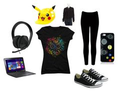 """Gamer Girl Outfit"" by sodachugger101 on Polyvore featuring Fade to Blue, Warehouse, Converse and Microsoft"