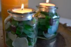 sea glass candles