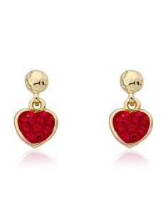 Red Crystal Heart Dangle Earring by Molly Glitz at Gilt
