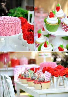 Summer Strawberry Picnic Party with cute mini strawberry inspired picnic baskets, dessert table with giant tissue flowers and a pretty pink ruffle cake.