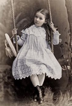 Victorian child on swing. Paper Whimsy