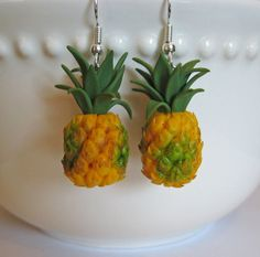 polymer clay food charms | Miniature Pineapple Earrings - Mini Food Jewelry - Polymer Clay