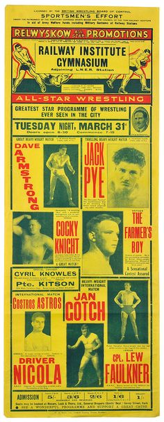 Quality stage name. Wrestling Posters, Boxing Posters, British Wrestling, Sports Flyer, Type Posters, Poster Design Inspiration, Photography Illustration, Professional Wrestling, Vintage Box