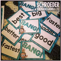 BANG! is just one garam included in NERD ALERT ADJECTIVES AND ADVERBS!! Your 2nd and 3rd graders will get plenty of practice with adverbs and adjectives with this pack!