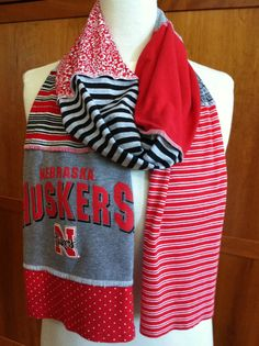 If i were a Huskers fan like my husband I would be all over this.  UPCYCLED tshirt scarf... Nebraska... Huskers... by verbositytees