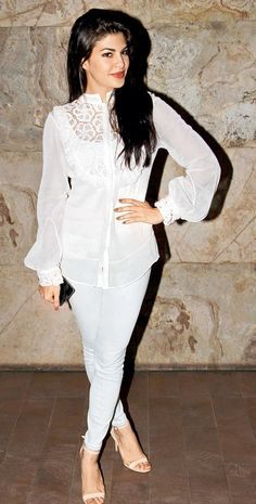 Jacqueline Fernandez at the screening of 'Kick' #Style #Bollywood #Fashion #Beauty