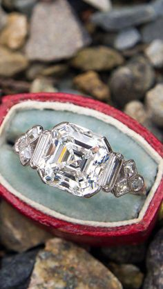 Antique 3 Carat Asscher Cut Diamond Engagement Ring Platinum - June 15 2019 at Best Engagement Rings, Antique Engagement Rings, Diamond Jewelry, Jewelry Rings, Platinum Jewelry, Jewellery Box, Stone Jewelry, Gold Jewelry, Jewellery Shops
