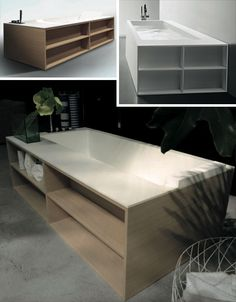 These curious multifunctional bathtubs by Antonio Lupi come with shelves along either the short or long sides of tubs, presumably to cater to different bathroom layouts that might require users to step over either the side or the end.
