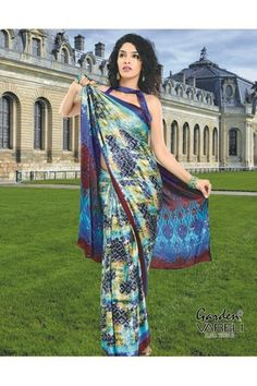 Buy Magical Mosaic Crepe Saree with Maroon-blue border Online at Best Low Price at Rs.1,211/-