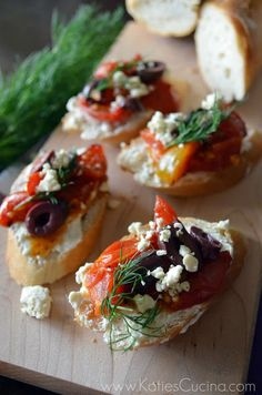 Greek Crostini with Whipped Feta - Katie's Cucina | Katie's Cucina