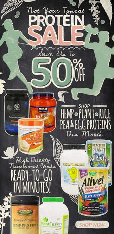50% off #hemp #rice #plant #pea #egg & #soy proteins this month at www.LuckyVitamin.com