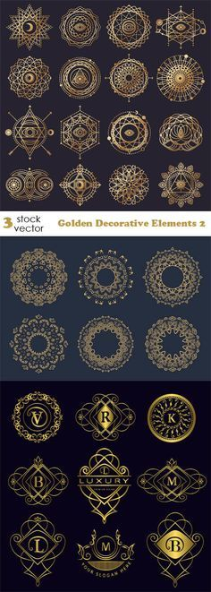 Vectors - Golden Decorative Elements 2