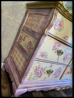 SOLD Lexington furniture Victorian style hand painted | Etsy Glitter Furniture, Purple Furniture, Whimsical Painted Furniture, Cute Furniture, Decoupage Furniture, Hand Painted Furniture, Paint Furniture, Shabby Chic Furniture, Furniture Makeover