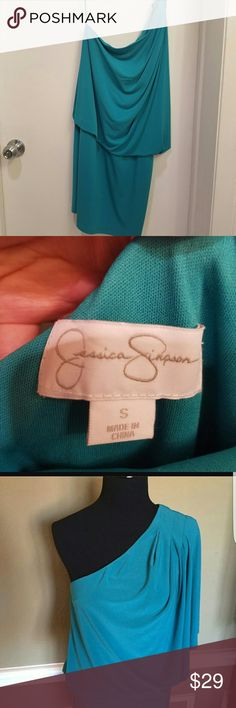 BRAND NEW Jessica Simpson Turquoise dress Never been worn!  Off shoulder turquoise dress is perfect for a night on the town!  Note- last image(blue dress on mannequin) is used as a reference Jessica Simpson Dresses One Shoulder