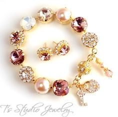 Blush Peach Pink Silk Gold Metallic Bracelet - Blush Wedding - from T's Studio Jewelry - tstudiojewelry.com