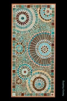 """Copper Circles"" mosaic panel created by me! ""Copper Circles"" mosaic panel created by me! Mosaic Tray, Mosaic Tile Art, Mosaic Pots, Mosaic Artwork, Mosaic Garden, Mosaic Crafts, Mosaic Projects, Mosaic Glass, Stained Glass"