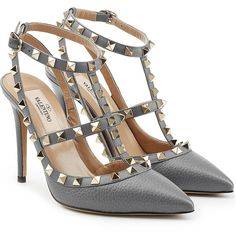 Valentino Leather Rockstud Pumps (15.351.790 IDR) ❤ liked on Polyvore featuring shoes, pumps, sandals, valentino, grey, valentino shoes, valentino pumps, gray leather pumps, leather footwear and grey leather shoes