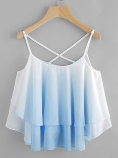 Ombre Crisscross Layered Swing Cami Top -SheIn(abaday) - Ombre Crisscross Layered Swing Cami Top -SheIn(abaday) Source by - Cute Girl Outfits, Teen Fashion Outfits, Cute Casual Outfits, Outfits For Teens, Pretty Outfits, Stylish Outfits, Fashion Dresses, Teenager Outfits, Fashion Styles