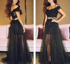 Black Prom Dresses,Lace Prom Dress,Sexy Prom Dress,Cap Sleeves Prom Dresses,Charming Formal Gown,High Low Evening Gowns,Black Party Dress