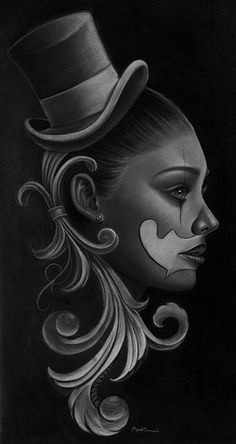 Dulce by Miguel Camarillo Mexican Payaso Clown Woman Canvas Art Print