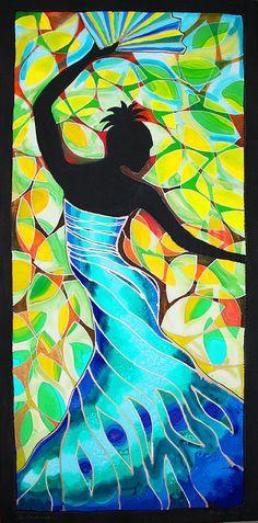 Vanessa Fan Dancer In Blue Canvas Print / Canvas Art by Lee Vanderwalker