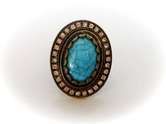 Vintage Copper Turquoise Stretch Ring         Adjustable to fit   Faux Turquoise by GemstoneCowboy on Etsy