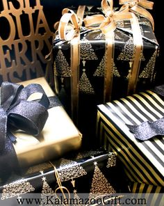 Christmas Holiday Gift Wrapping - Kalamazoo Gift Company - black and gold #giftwrap - Gift Wrapping Services