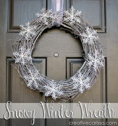 Cute snow wreath. Perfect winter decor that doesn't focus on one particular holiday. Uses snowflakes from the dollar store.