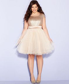 Trixxi Plus Size Dress, Cap-Sleeve Sequin Tulle A-Line - Junior Plus Sizes - Plus Sizes - Macy's