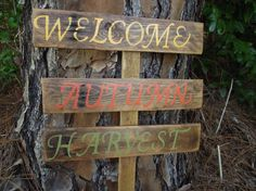 Hand-painted Autumn yard stake  Welcome Autumn by DoolittleWoodArt
