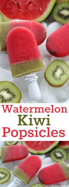 Watermelon Kiwi Popsicles- Natural and refreshing summer treat. Tastes incredible and perfect for summer bbq treats.Watermelon Kiwi Popsicles- Natural and refreshing summer treat. Tastes incredible and perfect for summer bbq treats. Frozen Desserts, Kiwi Popsicles, Healthy Treats, Healthy Recipes, Cooking Recipes, Dishes Recipes, Juice Recipes, Recipes Dinner, Eating Clean