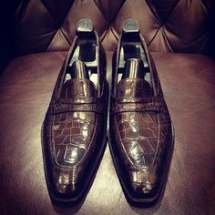 Gaziano & Girling alligator penny loafers