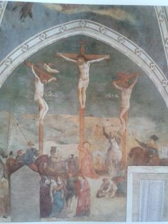 Crucifixión.  Ejecutado por Masolini y Masaccio entre 1428 y 1430. Muestran escenas de la vuda de Santa Catalina de Alejandria y del padre de la Iglesia Ambrosio. Señalan una importante fase del desarrollo renacentista en Roma. Capella Branda Castiglioni en San Clemente, Roma, Italia.