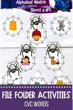 Your students will love learning to read CVC words with these interactive file folder games and activities! Ideal for first grade Halloween literacy center activities. Short Vowel Activities, Phonics Activities, Hands On Activities, File Folder Activities, Folder Games, Activity Centers, Literacy Centers, First Grade Games, Cvc Words
