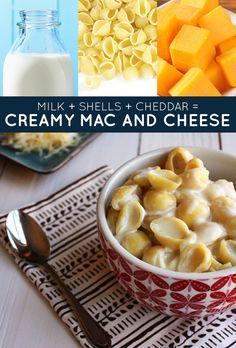 Leite   macarr�o conchinha   queijo cheddar = macarr�o cremoso com queijo | 33 receitas geniais de apenas tr�s ingredientes