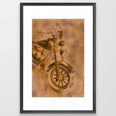 motorbike grunge Framed Art Print