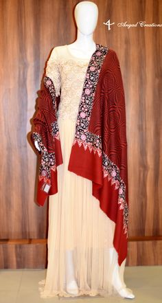 Dress with Red Embroidered Shawl #western #indian #wear #cream #red #combination #cashmere #embridered #shawl #women #girls #pure #pashmina #wrap #fashion #dress #india #ethnic #modern #vintage #fusion