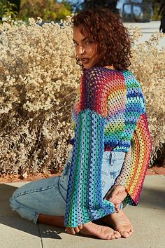 Crochet Cardigan, Knit Crochet, B720, Conservative Outfits, Hippie Crochet, Crochet Designs, Crochet Clothes, Free People, Cover Up
