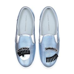 "Light blue laminated leather ""Flirting"" slip-ons with suede and patent embroideries and piercing applications. Light blue leather lining and insole. Made in Italy"